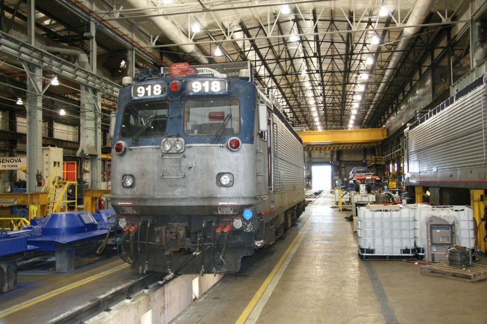 On the main shop floor, Amtrak AEM7 918 was undergoing an overhaul