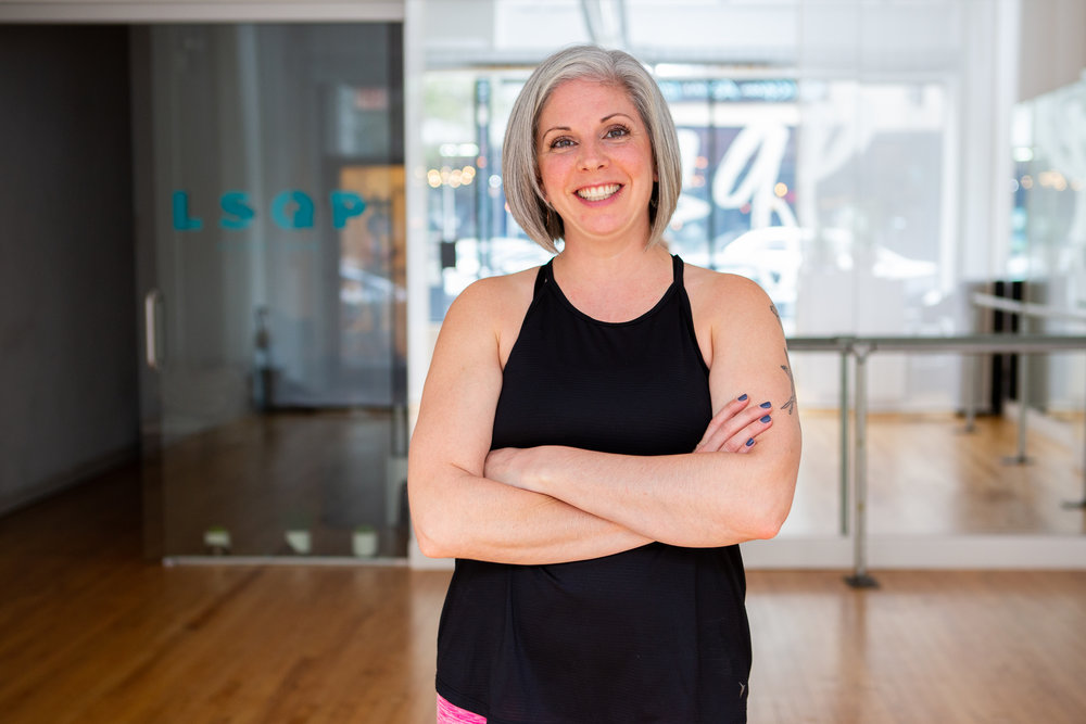 """Melisa C - """"With Pilates, my strength and balance is better and I have a greater range of motion.And there's a great sense of community here - incredible instructors and clients who truly care about one another.LSQP is one of the best things that has happened to our neighborhood. I look forward to going every time!"""""""