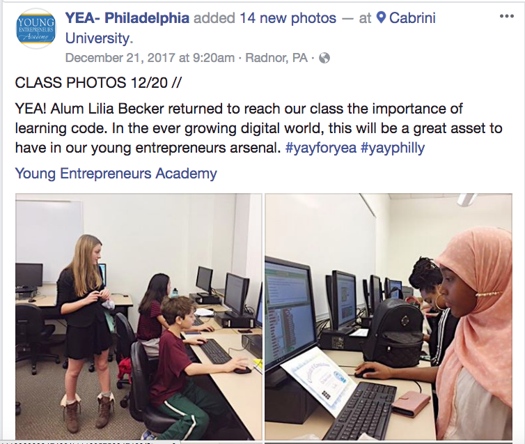 The Young Entrepreneurs Academy JavaScript Class at Cabrini College was a great success!