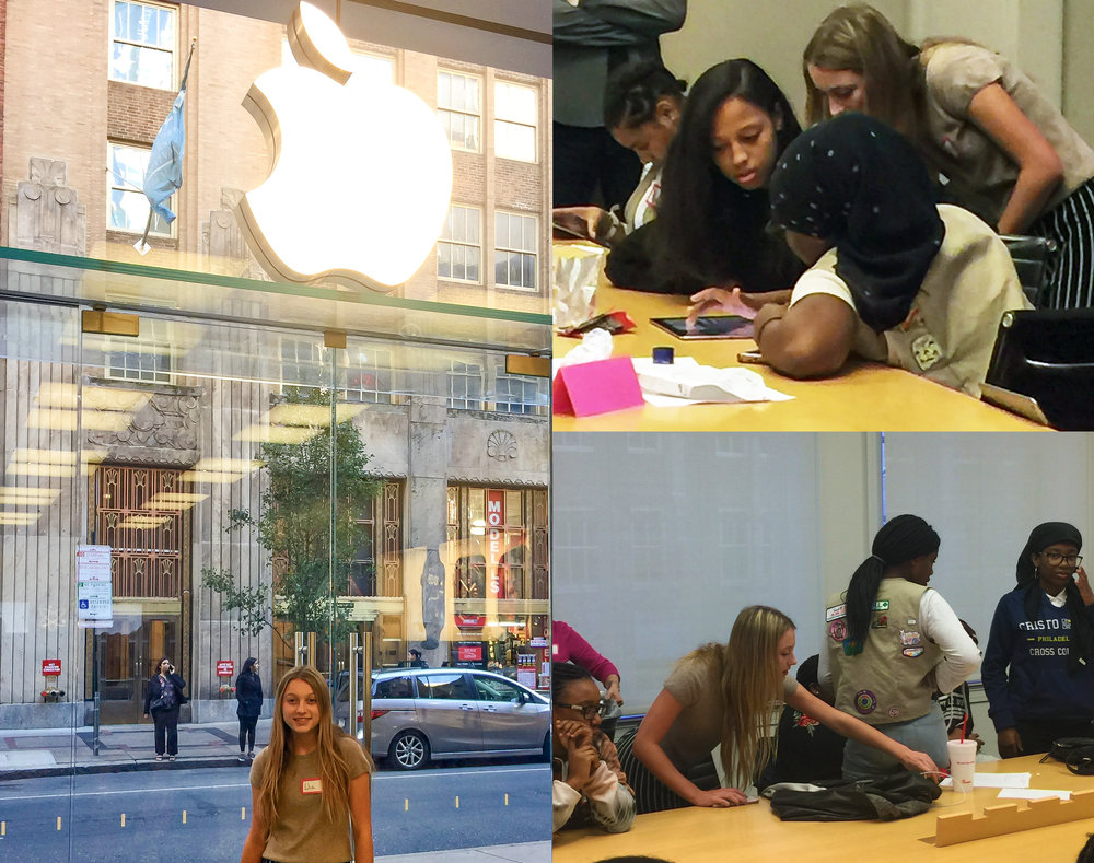 On Saturday I was so happy to help teach the basics of Computer Science with TechGirlz to a smart group of Girl Scouts at the Apple Store on Walnut Street in Philadelphia!