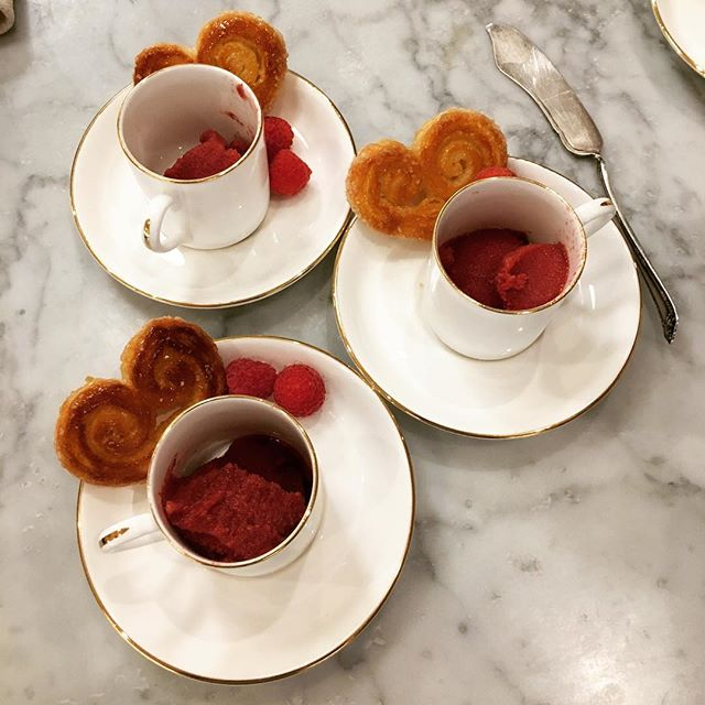 Crispy, freshly made Palmiers and raspberry sorbet served in a demitasse cup...perfect.  #dessert #delicious