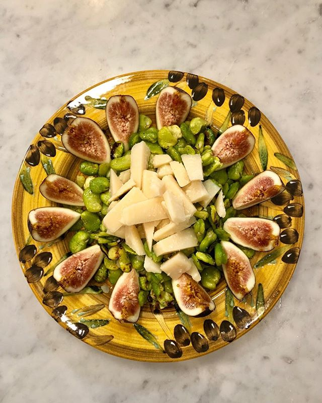 Charred fava beans, parmagiano cheese and honeyed fresh figs, heavenly!