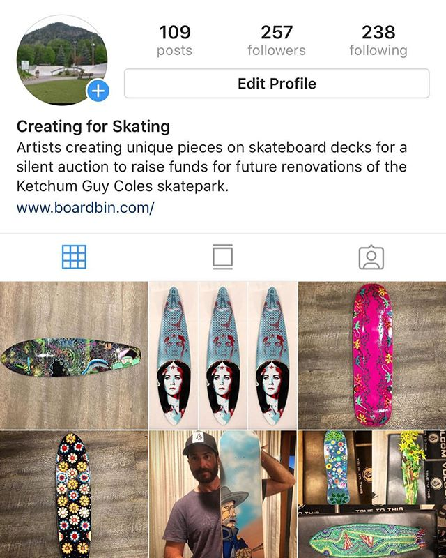 Our @creating_for_skating event is this Sunday and the decks created by artists are starting to arrive! Follow @creating_for_skating to see sneak previews of artwork that will be up for grabs at the silent auction/street party on Sunday. The Fourth Street Party will be from 1-8pm on Fourth Street in downtown Ketchum.