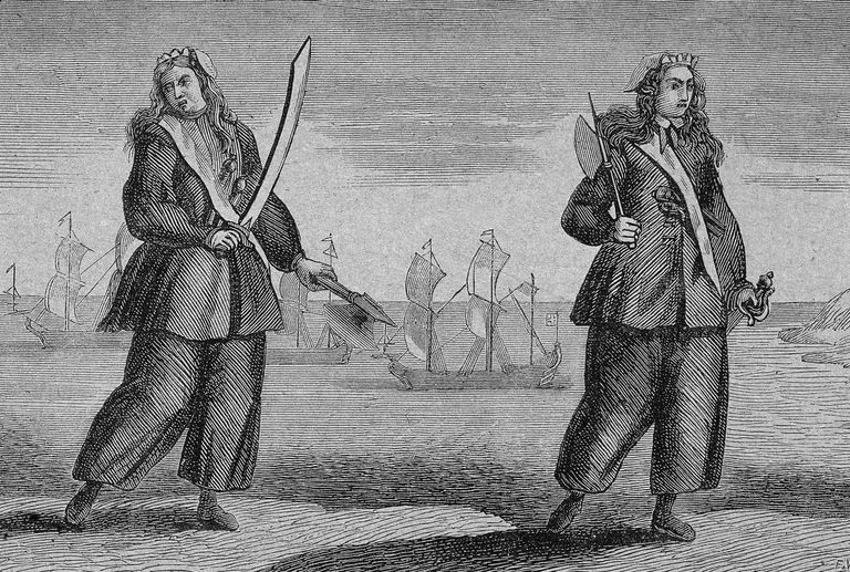 Anne and Mary, from the 1724 edition of  A General History of the Pyrates