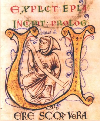 "Illumination of Aelred from his manuscript, ""The MIrror of Charity."""