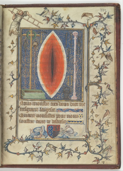 Wound of Christ in Psalter and Prayer book of Bonne de Luxembourg, 1345.