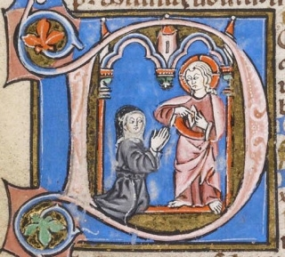 From a nun's prayer book made in Southern France between 1275 and 1300, Christ displaying the wound in his side to a nun in prayer, historiating the initial D(omine) of the Hours of the Passion (  D omine labia mea aperies , O Lord open thou my lips).