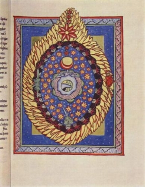 """The Universe"" by hildegard of bingen. uh huh okay hildegard that doesn't look like anything we've seen before sure"