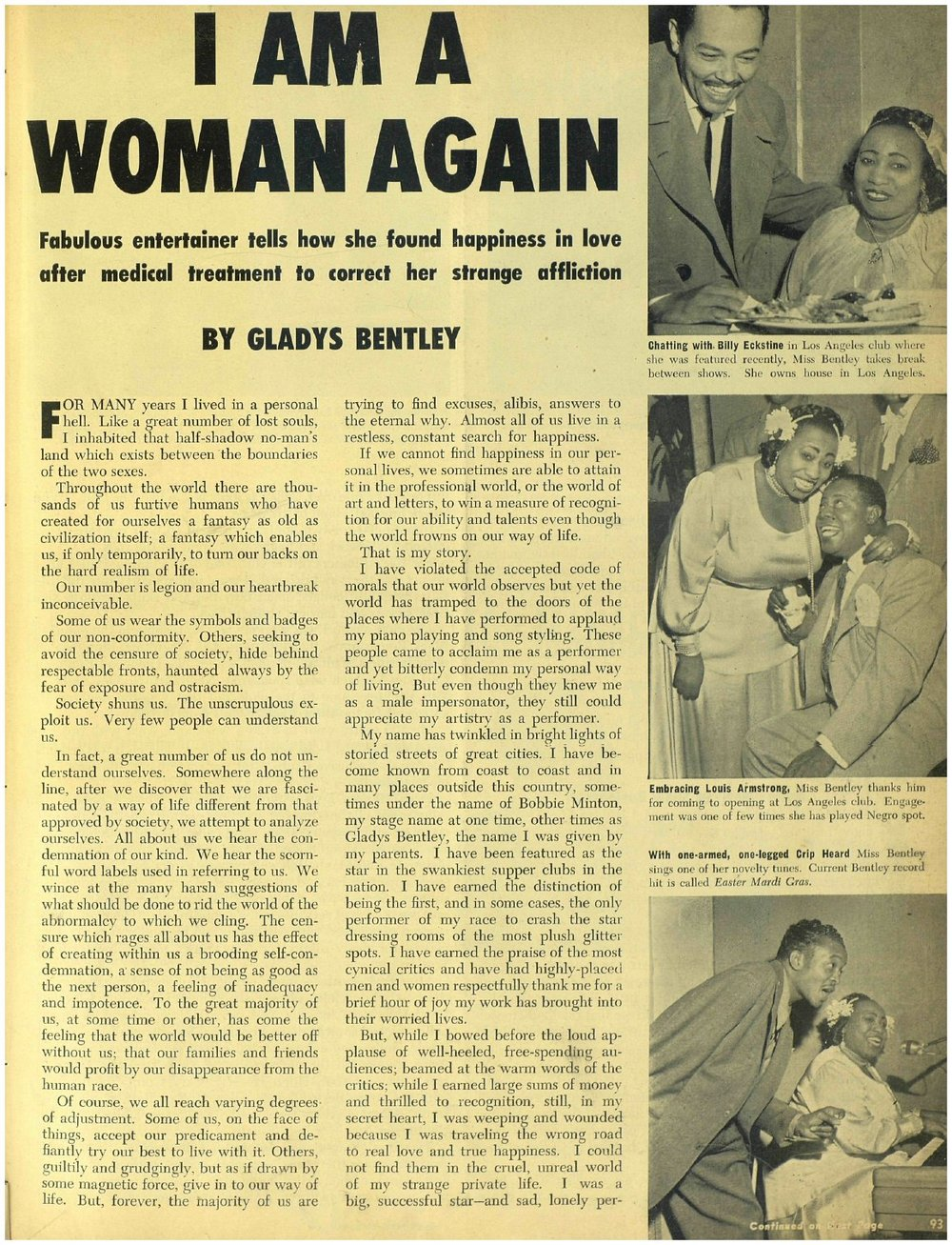 photgraph of the infamous  Ebony  article from 1952 where Bentley claimed to have turned straight due to hormone treatments. this and the rest of the article can be read  here .