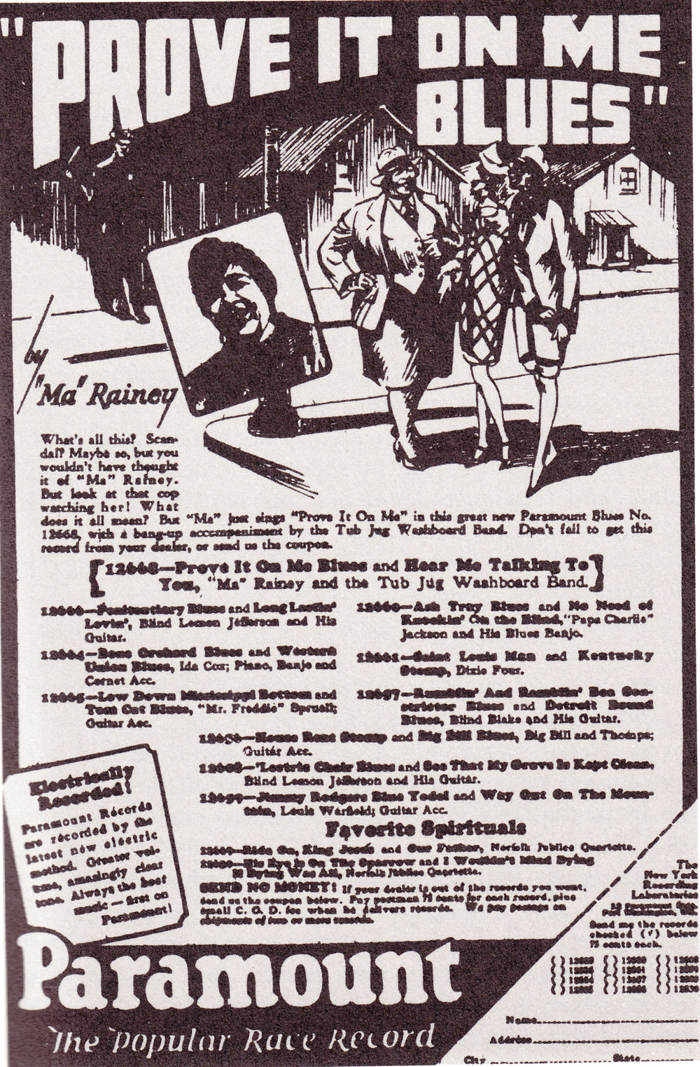"The infamous ""Prove it on me BLues"" ad featuring Ma Rainey flirting while a cop looks on, suspicious. ( source )"