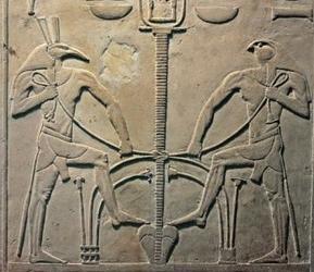 Set (Left) and Horus (Right) bind the plants of Egypt ( Source ).