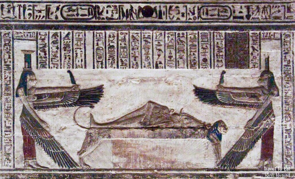 Nephthys (Left) and Isis (Right) guard the body of Osiris ( Source ).