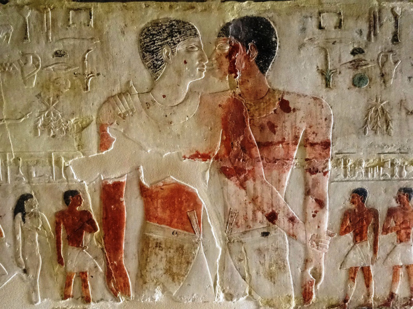 Niankhkhnum (Left) and Khnumhotep (Right) embracing on the walls of their tomb.