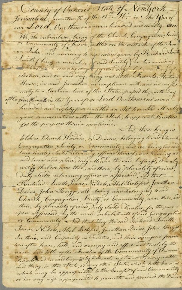 Act of Incorporation that established the Society of universal Friends in 1791, as seen on  History Detectives  and now currently in the  Communal Societies collection at Hamilton College .