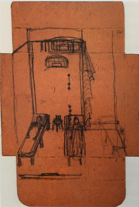 Marcel Moore's sketch of their prison cell, complete with the ventilation ducts that allowed a network of prisoners to secretly send messages to one another