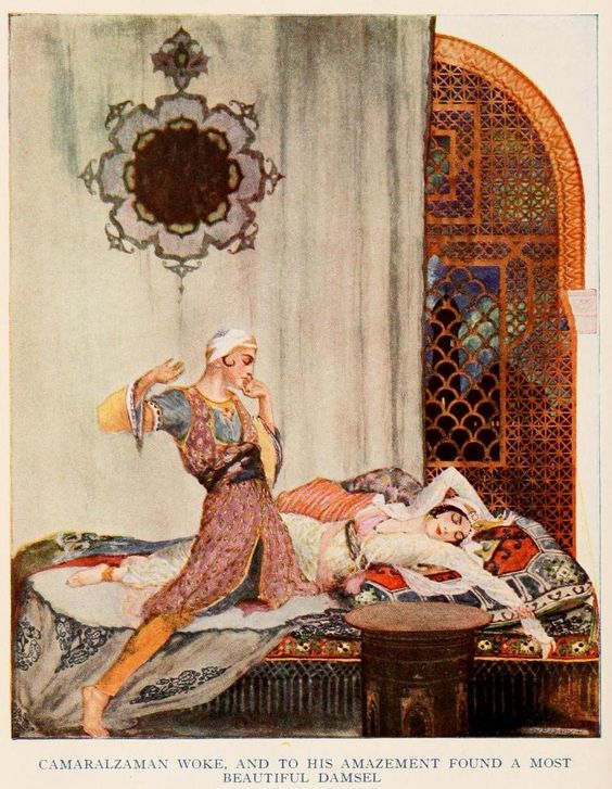 Illustration of Qamar and Budur from the 1915 edition of  More Tales from the Arabian Nights .