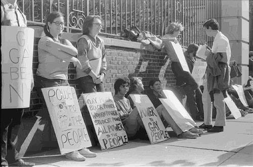 Brenda (second from left, glasses and pigtails) with Bob Kohler, Sylvia Rivera, etc. at an LGBTQ Demonstration at Bellevue Hospital in 1970.