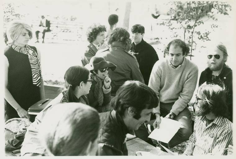 Brenda (left, pigtails and glasses) at a meeting with other members of the Gay Liberation Front in 1970.