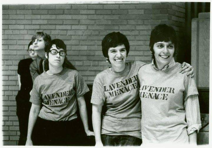 Meeting of radical women's group Lavender Menace with Brenda in the background (left, black shirt), early 1970s.