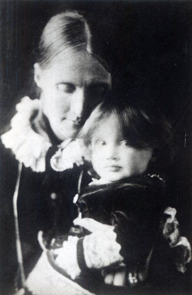 Baby Virginia in the arms of her mother, julia stephen