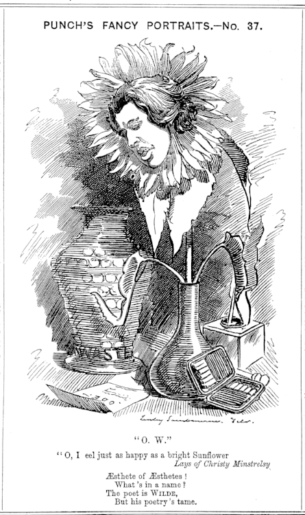 "One of a series of ""fancy portraits"" by cartoonist Linley Sambourne mocking contemporary personalities. This one of Oscar Wilde was Published June 25, 1881."