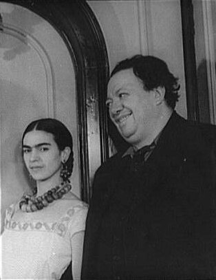 "Here you can see why Frida's father called them, ""The Elephant and the Dove."" Frida and Diego Rivera, 1932."