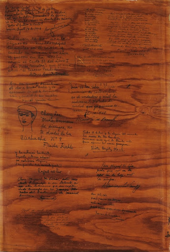 "MIguel n. Lira's Tabla con Diferentes Frasas y Firmas signed by friends, including frida kahlo, fellow member of ""los Cachuchas,"" 1948."