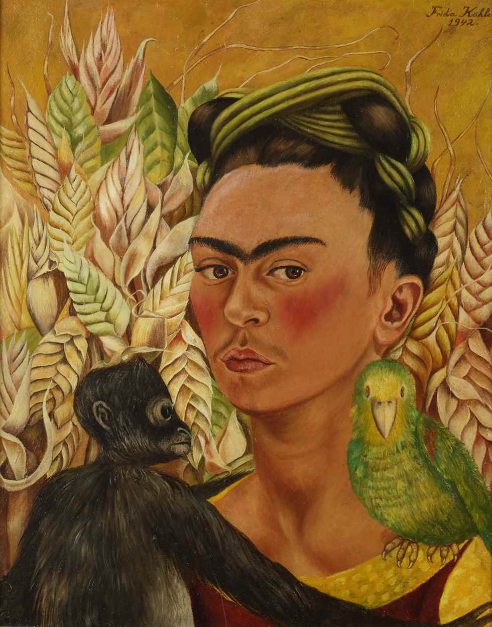 Self portrait with monkey and parrot , 1942.
