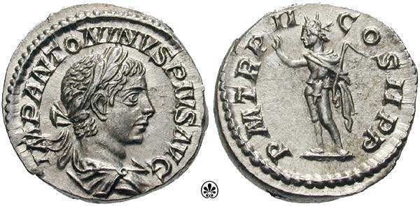 Roman Denarius featuring the bust of elagabalus (left) and the sun god Sol (Right) with upraised hand and whip. 221 CE. For a full database of Elagabalus coins,  click here .