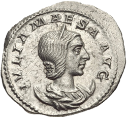 Roman Antoninianus featuring the bust of Julia Maesa (Elagabalus' Grandmother). 218-219 CE. For more Julia Maesa Coins,  Click here .