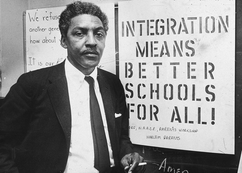Rustin at the headquarters for the Citywide Committee for Integration in New York City, 1964.