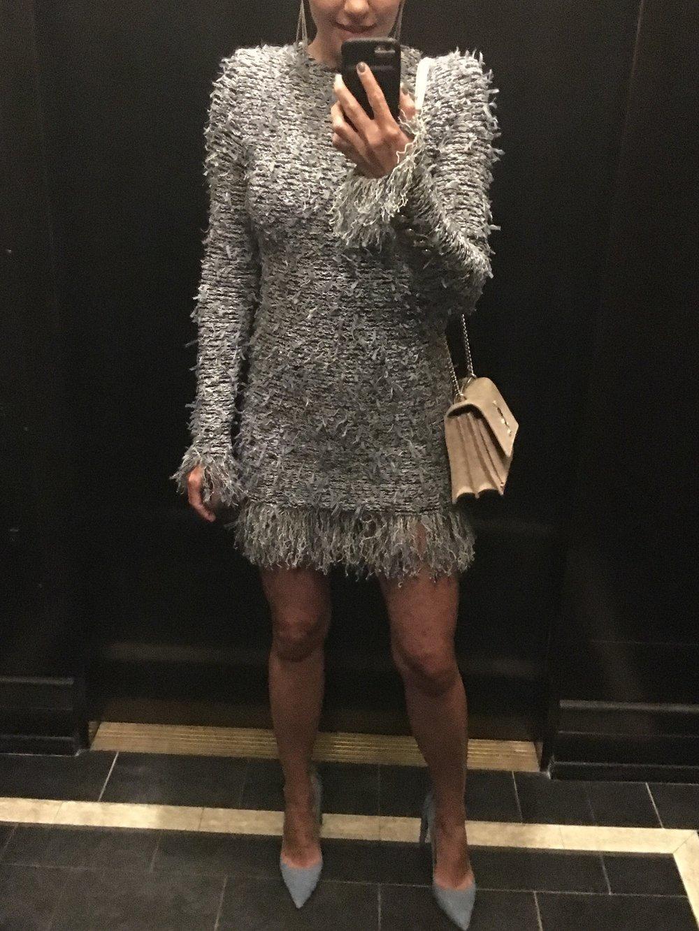Balmain Fringe Tweed Dress, Altuzarra Suede Shoes, Saint Laurent Sunset Bag