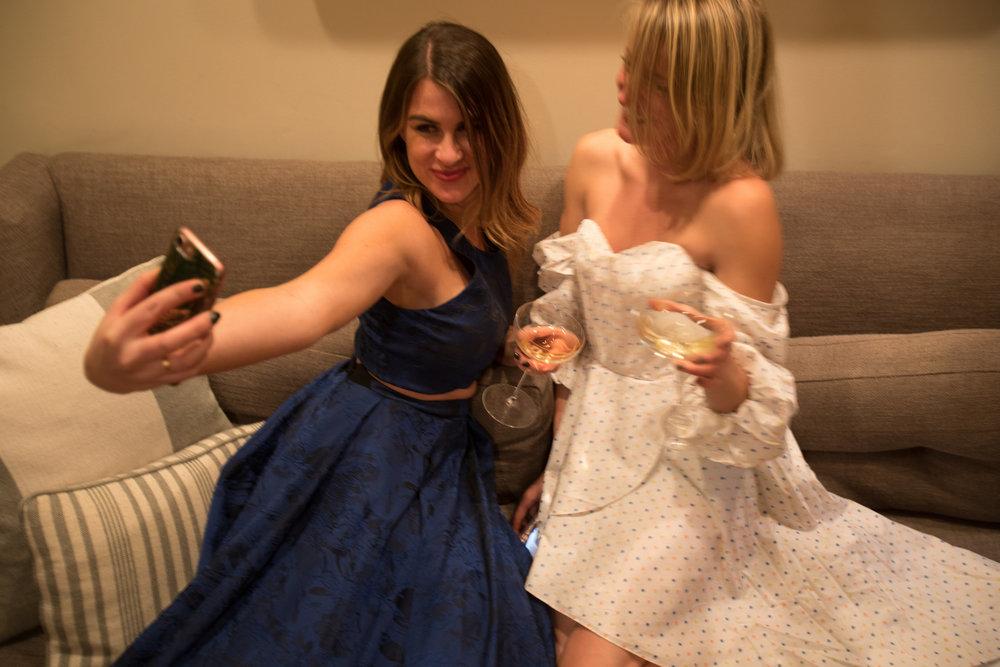 Blue Alice & Olivia Dress, White Polkadot Caroline Constas Dress