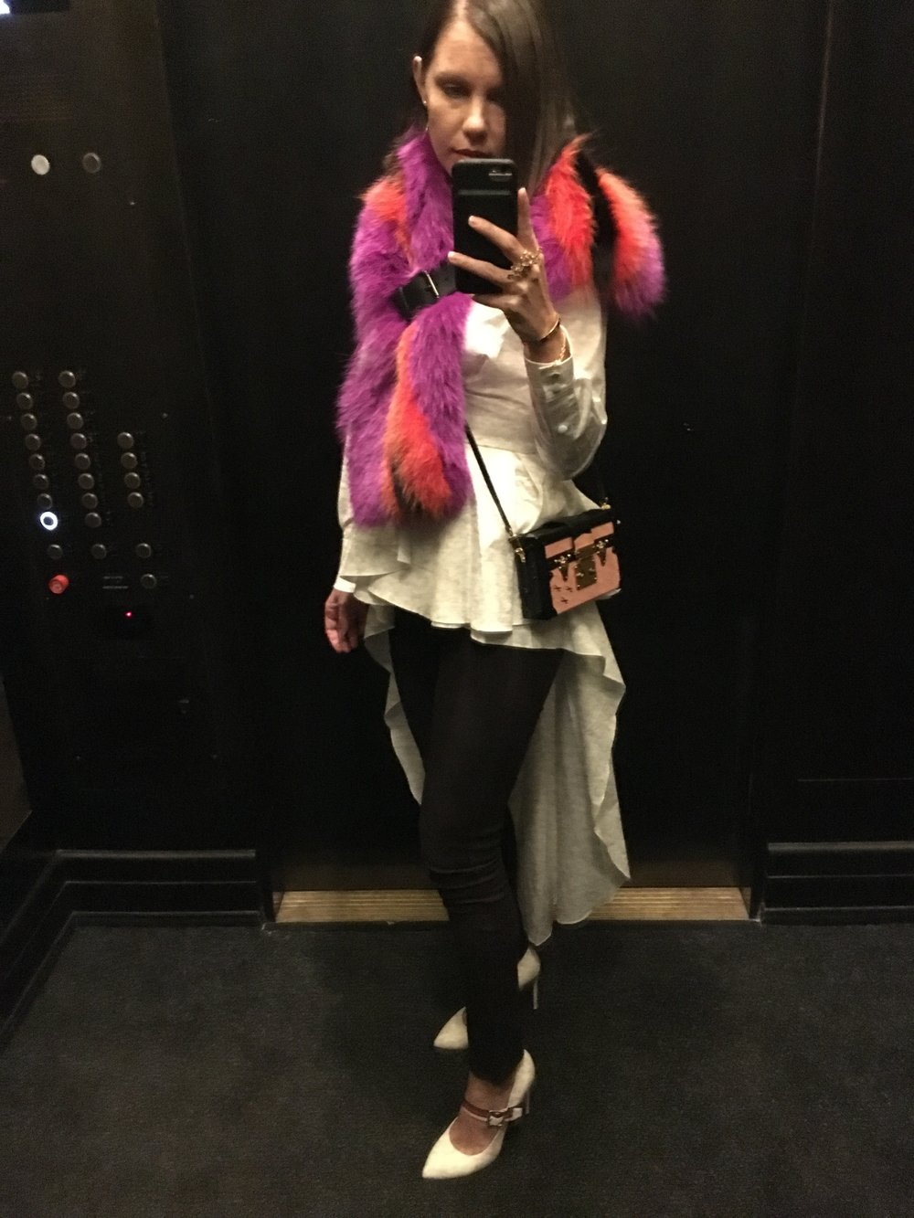 Fendi scarf, Johanna Ortiz top, Louis Vuitton bag, Gucci shoes