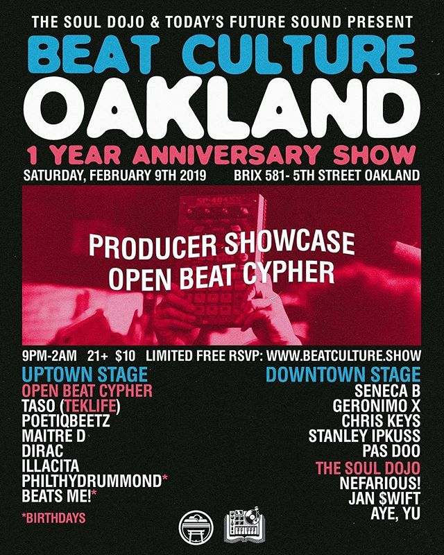 Join us this Saturday for the 1 year anniversary of Beat Culture! It's been an amazing year. We threw 15 events and over 80 artists performed on our 2 stages. Even more participated in the open beat cypher. We are hella lucky to be able to bring producers and fans of this beat music together every month! Tickets available in @beatculture.show bio 🔊