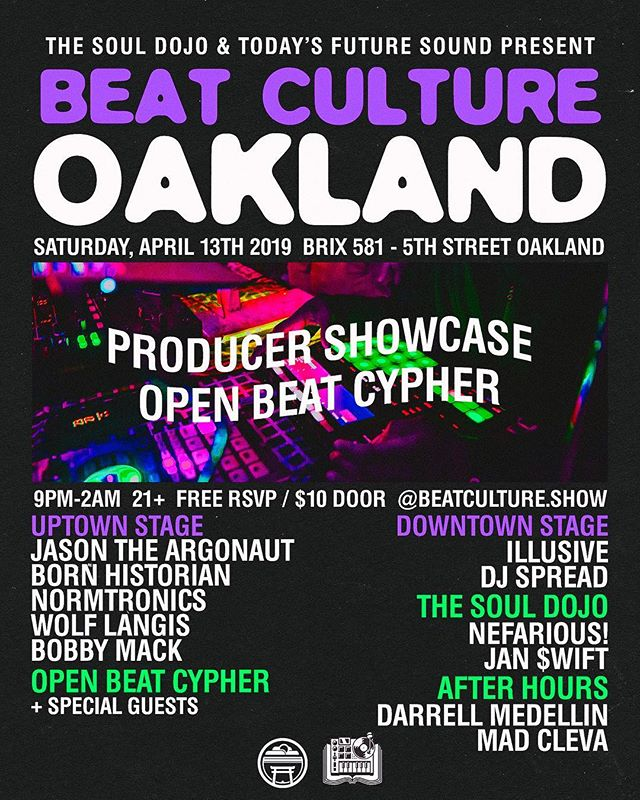 Join us at Beat Culture this Saturday. 2 stages of dope producers, open beat cypher for everyone to rock and bomb soul food to top it off. I'm hella proud of what we've built with @beatculture.show, we're exposing this beat culture to the folks who have never experienced a live beat set and end up coming back month after month. My goal has always been to provide what I feel like was missing in the community, a dope event that doesn't exclude anyone and everyone is welcome to bring their beats from the bedroom to the big speakers. I know what it's like to be slept on and not have many avenues to do shows, etc. Half our lineup from this Saturday are folks we met when they came to rock the beat cypher. The goal has always been to provide the opposite of all the gate keeping and politics that is often associated with music scenes. To everyone that's ever doubted, slept on, or dismissed what I've got going on. You're the inspiration for this, thank you. We can only hope those of you who come to the shows see the vision and continue to support us and each other! See y'all Saturday! Tickets in @beatculture.show bio 🎛🔊🔥