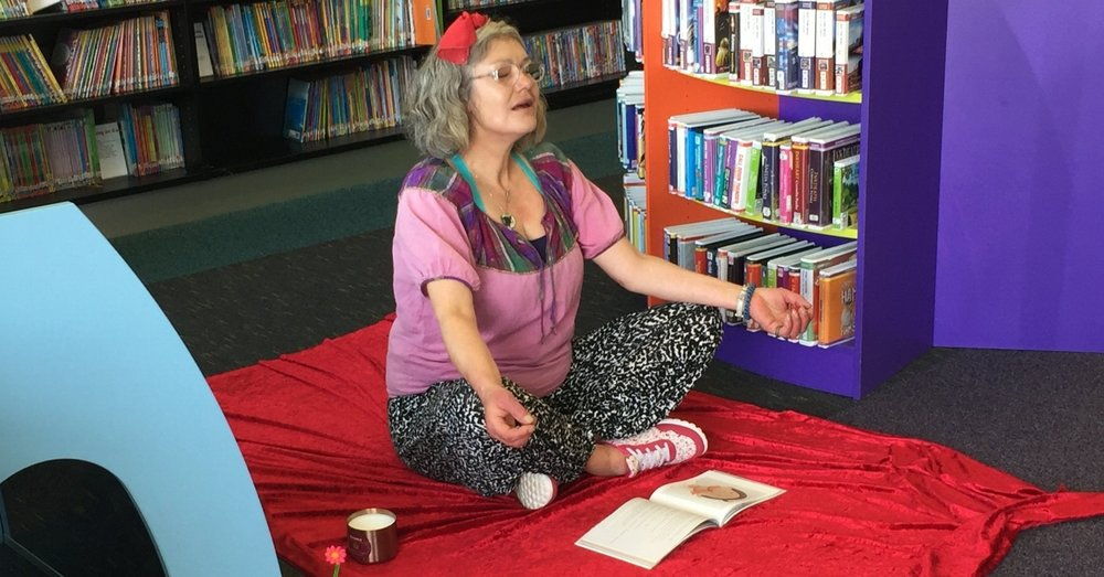 A participant trying a meditative exercise