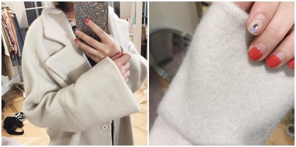 蕾絲點綴天鵝絨細肩帶洋裝 + 復古格紋長袖襯衫+小巴黎毛料長大衣