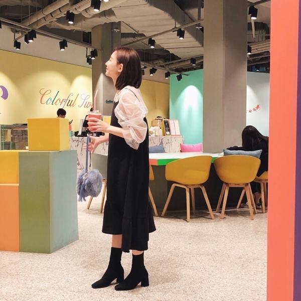 小清新雙肩帶魚尾洋裝  +  韓國百搭率性彈性襪靴