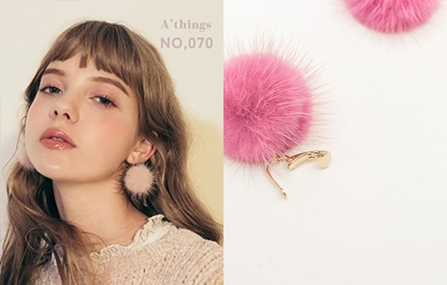 NO,070韓國冬氛毛毛球夾式耳環