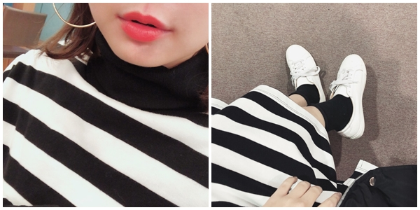 PAZZO-MIT高領舒適條紋洋裝