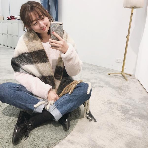 PAZZO韓國暖冬麻花純色流蘇圍巾-韓國暖冬格紋麻花流蘇圍巾