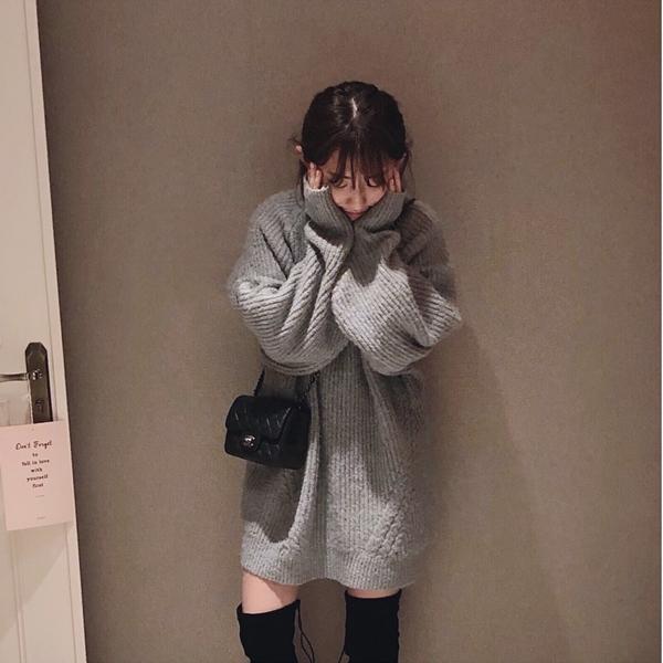 混色勾針長版毛衣  +  韓國後綁帶麂皮感長筒靴