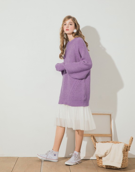 PAZZO混色勾針長版毛衣