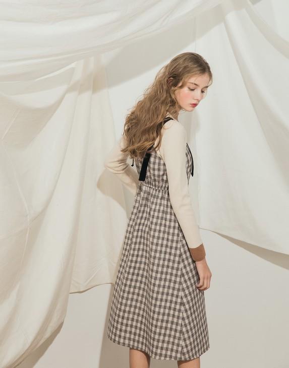 PAZZO甜氛格紋絨布拼接長洋裝