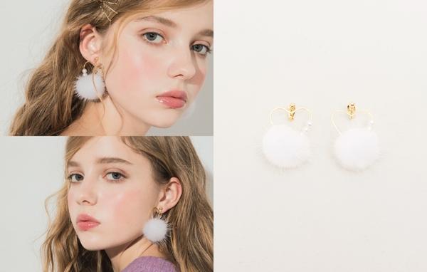 NO,073甜甜冬日心型毛球夾式耳環