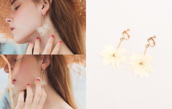 NO,015甜美女孩花瓣夾式耳環