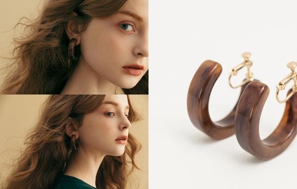 NO,044秋氛復古C型夾式耳環
