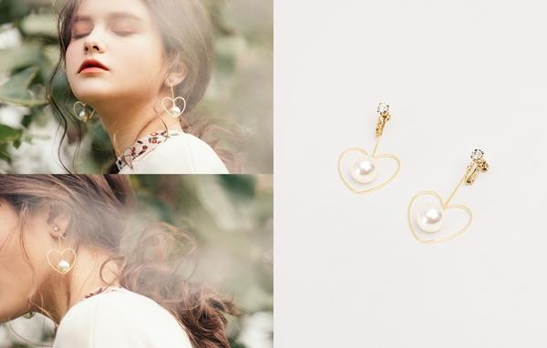 NO,056韓國甜美心型珍珠夾式耳環