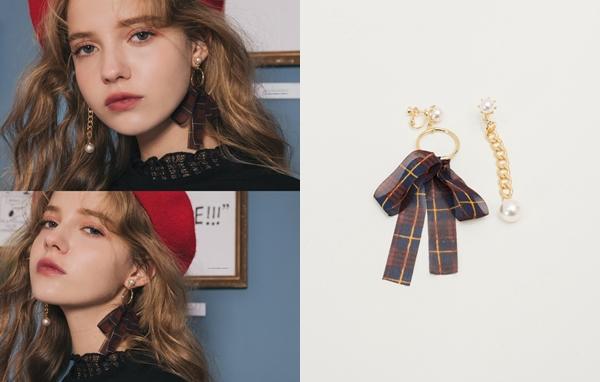 NO,066韓國甜美珍珠蝴蝶結夾式耳環